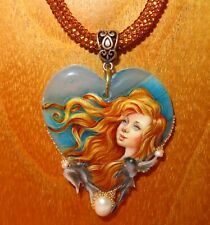 SHENSHIN Pendant Gold Girl Shell Birds hand painted STONE Heart beaded Necklace