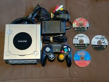 Nintendo GameCube Console NGC Platinum Silver Works 4 Games Madden Sims Naruto