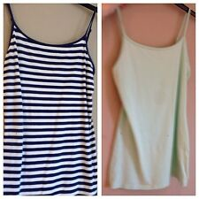 Ladies Atmosphere Mint Green And Navy White Stripe Spaghetti Strap Top Size 12
