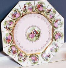 Vintage Porcelain Fragonard Courting Couple Cameo Octagon Plate Gold Pale Pink