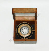 Brass Glass Top Box Gimble Compass, Nautical Wood Box Ship Gimble Compass,