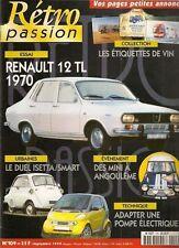 RETRO PASSION 109 RENAULT 12 TL 1970 BMW ISETTA 250 1957 SMART ETIQUETTES CAMION