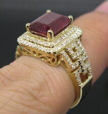 4.61CT Genuine Natural Brilliant Diamond Blood Ruby Ring Solid 14K Yellow Gold