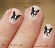 Boston Terrier, French Bulldog Portrait, Dog Nail Art Stickers