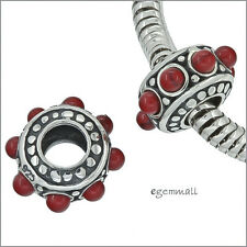 Antique Sterling Silver Red Coral Charm Bead Fit European Bracelet #94119