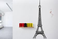 Wall Vinyl Sticker Decal Skyline Horizon Panorama City Eiffel Paris France F1725