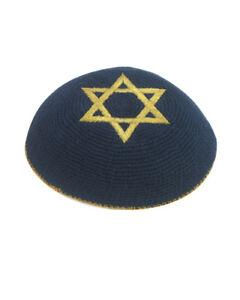 Black Gold Star Of David Knitted Yarmulke Kippah 15 cm Jewish Kippa Cupples Hat