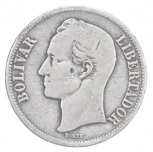 SILVER - WORLD COIN - 1921 Venezuela 5 Bolivares - World Silver Coin *980