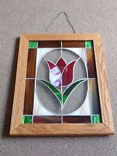 "Stained Glass Red Tulip Flower Hanging Chain Oak Framed Suncatcher 19"" x 15"""