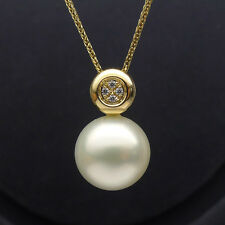 Natural Cream Real South Sea Cultured Pearl Pendant Solid 14K Yellow Gold 10.6mm