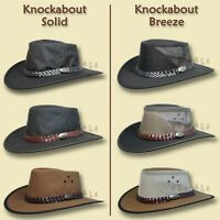 【oZtrALa】COWBOY Straw HAT Mens Womens Aussie-Stetson Leather Western OUTBACK Tex