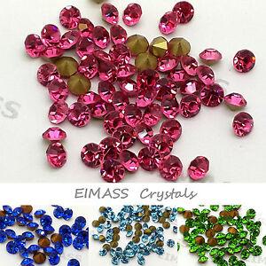 500 x Glass Chatons, EIMASS® Grade A Point-back Cut Diamond Crystals Foiled Gems