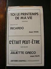 Partition Toi le printemps de ma vie Ricardo C'était peut être Juliette Greco