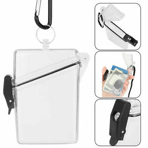 Sport Portable Waterproof Case Key Cash Work ID Card Holder Badge w/Lanyard+Clip