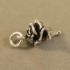 .925 Sterling Silver 3-D CAMELLIA / ROSE Charm NEW Pendant Flower Stem 925 GA68