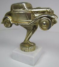 Vtg Hot Rod Race Car Desk Shelf Art Paperweight auto derby racing trophy metal