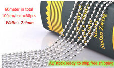 60pcs StainlessSteel Ball Chain Connector Key Chain Scrapbooking Ring Tag