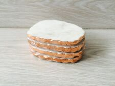 Whit Marble Copper Rose Gold Foil Coasters Boho Chic Modern Botanical Natural