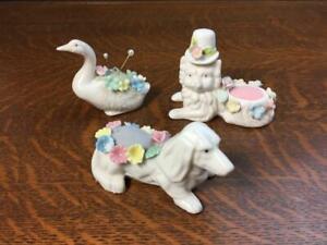 Vintage Pincushion Lot of 3 Porcelain Ceramic Cat Dog & Duck Flowers Pin Cushion
