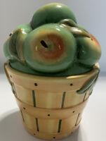 Basket Of Green Apples Cookie Jar Ceramic Canister Susan Winget Cracker Barrel