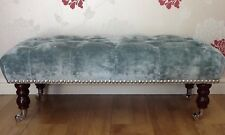 A Quality Long Deep Buttoned Footstool In Laura Ashley Caitlyn Duck Egg Fabric