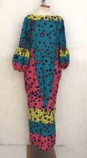Real African Wax Print Maxi Dress STARS Long Sleeves Psychedelic Bubu Pockets