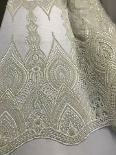 Bridal Fabric - Embroidered Lace Beaded & Pearls Mesh Ivory Wedding By The Yard