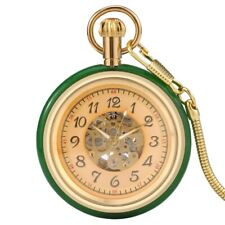Green Jade Case Modern Fob Chain Mens Vintage Mechanical Pocket Watch Automatic