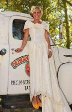 Vintage 1950's Size 4 Cream Off The Shoulder Long Train Wedding Dress