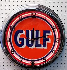 "17"" GULF Antique Sign Gasoline Motor Oil Gas Station Neon Clock No Nox"