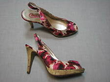 7 M Candie's Pink Fabric Floral White Beige Print Hot Ladies Shoes Womens Heels
