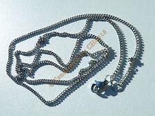 Chaine Collier 60 cm Argenté Pur Acier Inoxydable Maille Double Anneau 1,8 mm