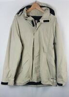 Vintage Mens Quiksilver Mens Coat Jacket Large Size L Khaki Fleece Lined 90s