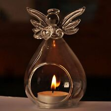 Glass Candle Holder Angel Safe Transparent Crystal Home Decor Gift Flame Light