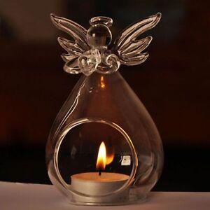 Glass Candle Holder Angel Safe Transparent Crystal Home Decor Gift Flame Light