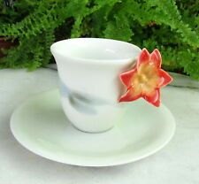 BEAUTIFUL RETIRED LLADRO DEMITASSE CUP AND SAUCER W/ ORCHID FLOWER HANDLE