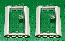 LEGO CORNER doors and frames for house (pack of 2) 4x4x6 white clear BRAND NEW