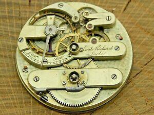 Antique Pocket Watch Movement Emile Richard Locle Jules Jurgensen 15j KWKS