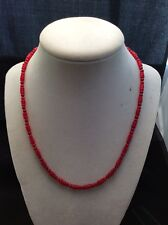 """Southwest Sterling Silver Red Bamboo Coral Bead Necklace Earrings Set 17.5"""""""