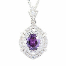 Schmuck Jewelry Oval Purple Amethyst 18K White Gp CZ Pendant Necklace Free Chain