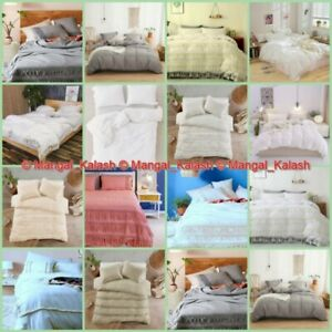 Cotton Tassel Bohemian Bedding Quilt Comforter Solid Duvet with Pillow Cover