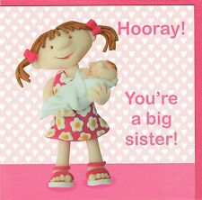 Hooray! You're A Big SISTER new baby Card  - suitable for birth of boy or girl