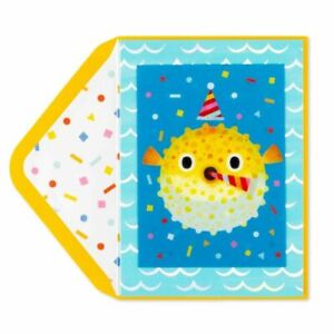 Papyrus Happy Birthday Card  -Lenticular Moving Blowing Blowfish - Blow it Up!