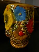 Inarco Flower Power Bright Glass 1970's Glass Blue Yellow Orange Relief Vintage