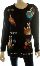 Quacker Factory MEDIUM Black Cardigan Sweater with Cats Kittens Womens