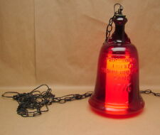 """Vintage Large Ruby Red Glass 1776 Liberty Bell Hanging Lamp 18 1/2"""" Tall"""