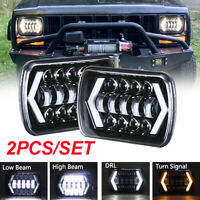 "Pair 7x6'' 5X7"" Halo LED Headlight DRL Turn Signal Light for Truck Jeep Wrangler"