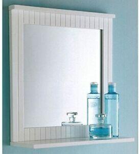 New Stylish Design Crisp White Finished Bathroom Wood Frame Mirror Wall Mounted