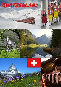 SWITZERLAND - SOUVENIR NOVELTY FRIDGE MAGNET / SIGHTS / FLAG / BRAND NEW / GIFTS