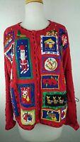 Segue Ho Ho Ho Women Medium Red Sweater Ugly Christmas Ramie Cotton O